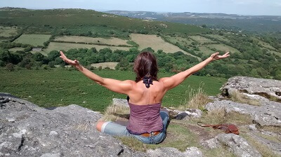 Ty doing yoga in Devon